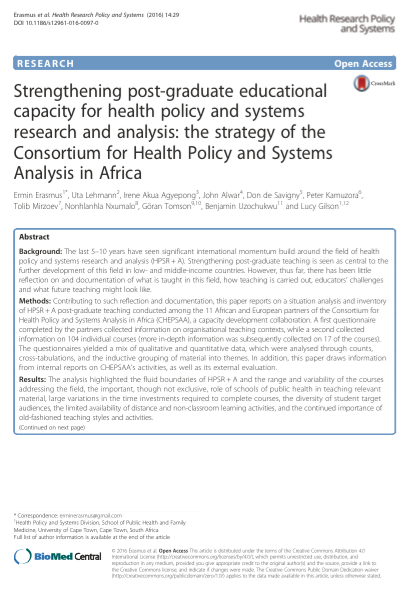 Policy research and analysis